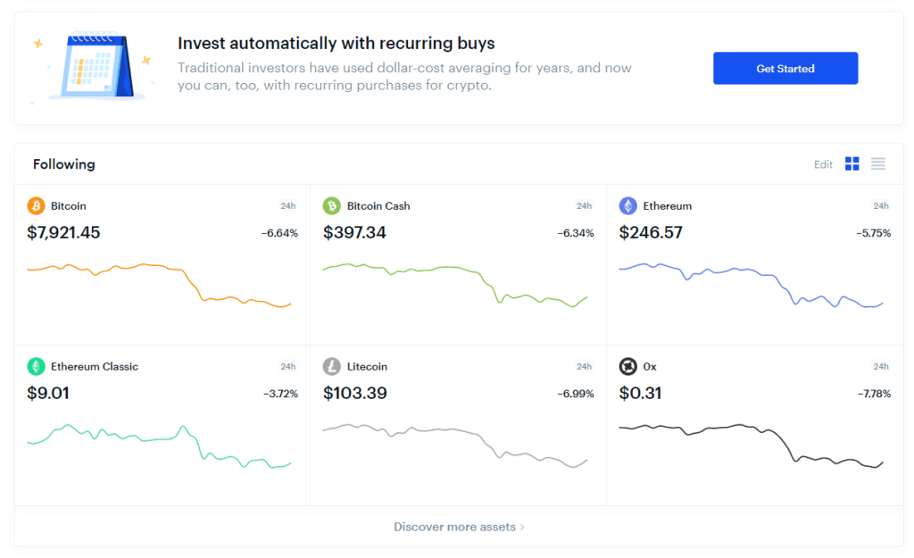 Screenshot of Coinbase.com, showing popular cryptocurrencies.
