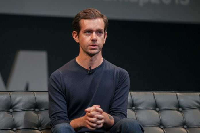 Jack Dorsey sitting on a couch, while having an interview.