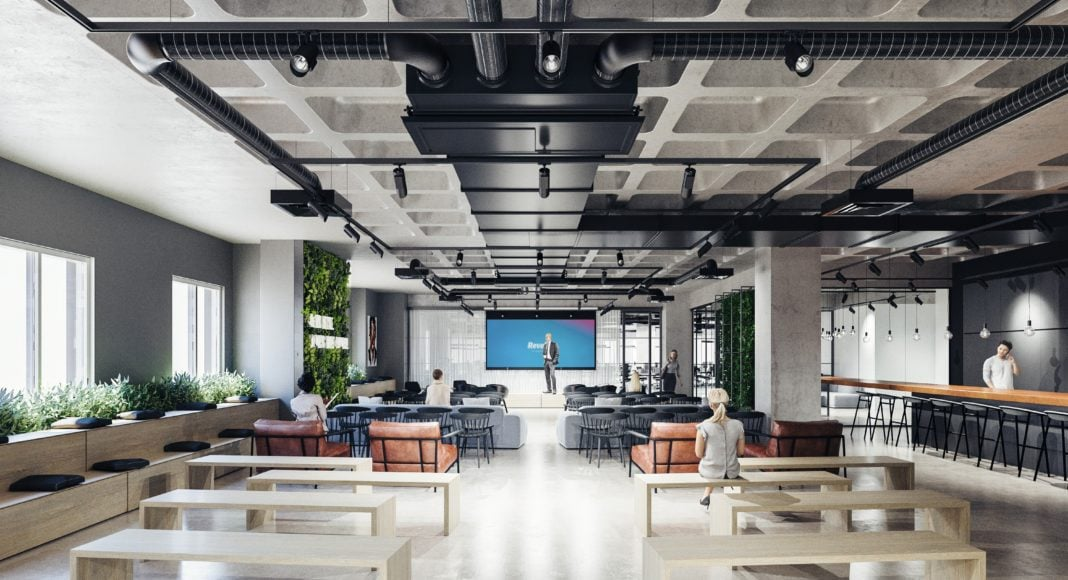 Head office of Revolut in London, with a few people on the picture.