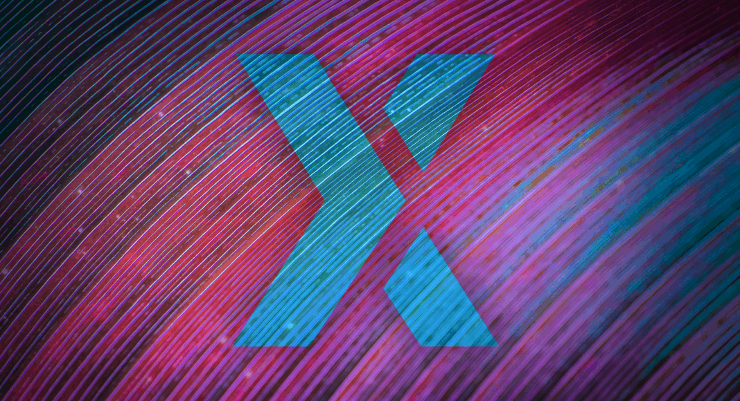 Blue X, representing the Poloniex logo, in front of a purple/blue background.