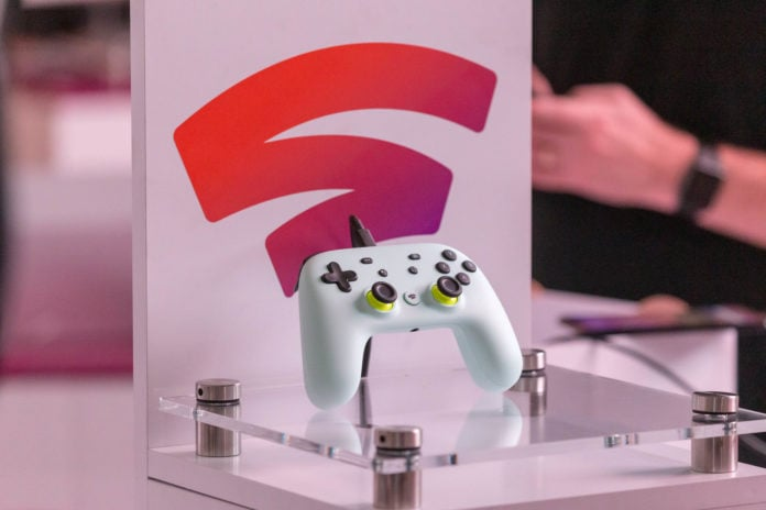 Google Stadia controller on display.
